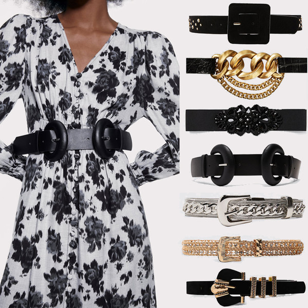 New Vintage 2019 Ceinture en cuir pour les femmes Imitation Perles métal taille chaîne Accessoires Parti Cadeaux de Noël Ceinture en gros
