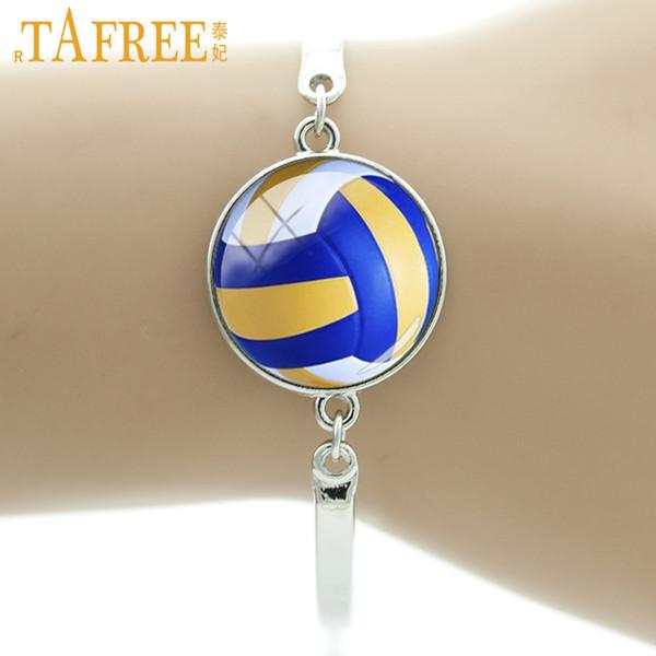 Tafree marca melhores ofertas de vôlei de praia imagem de vidro pulseira homens mulheres sports jóias bilhar pulseiras de tênis t255