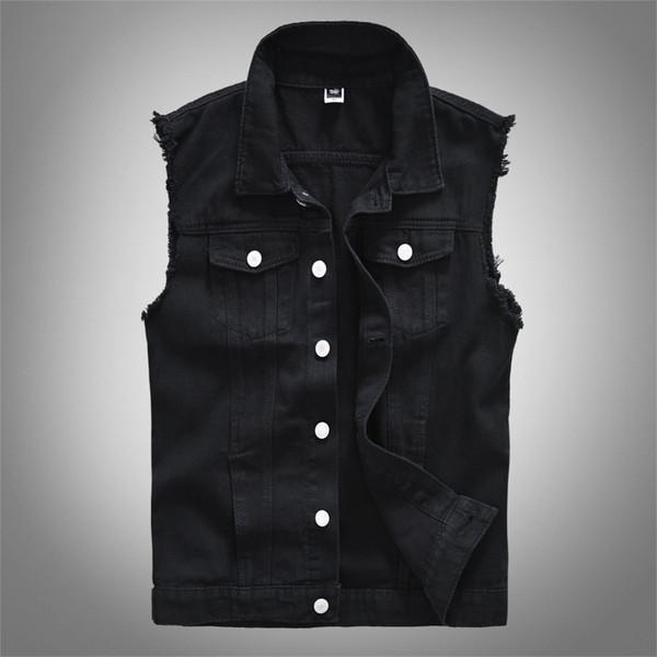 Großhandel Coole Weste Ärmellose Jeansjacke Mens Casual Waistcoats Oberbekleidung Mäntel Hip Hop Tops Kleidung Plus Size M 5XL Schwarz Von Tomwei,
