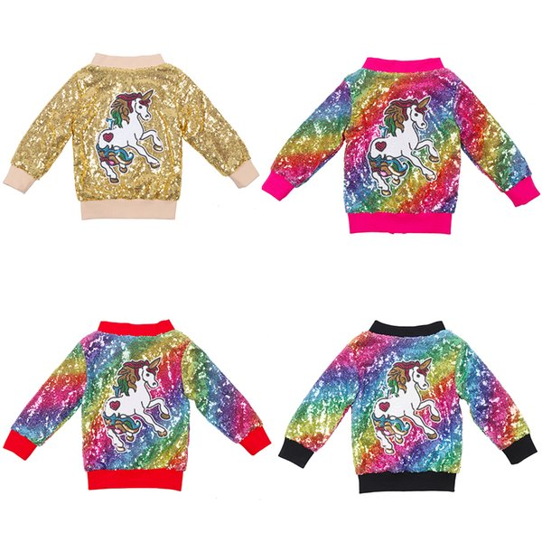 best selling Baby Girls Unicorn Rainbow Jacket Sequin Bomber Kids Sparkle Zipper Long Sleeve Clothing Outerwear Toddlers Baby Glitter Coat
