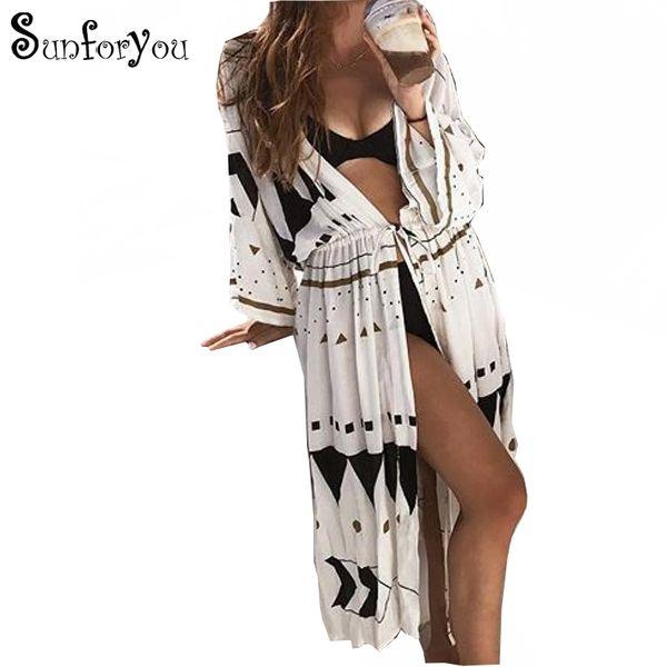 Beach Dress Sarongs Cover-up Swimwear Bobe De Plage Pareo Beach Tunics Bathing Suit Cover Ups Saida De Praia Bikini Cover Up T3190601