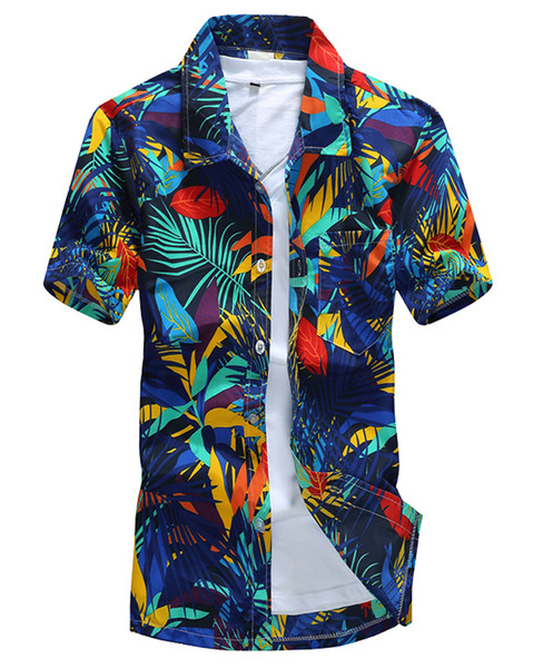 Jessie Kidden Men Hawaiian Shirt Casual Camisa Masculina Printed Beach Camp Aloha Shirts Short Sleeve Cothing Free Shipping