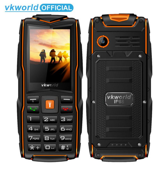 Original VKworld New Stone V3 Mobilephone IP68 Waterproof Flash Light 2.4inch 3000mAh GSM FM Russian Keyboard 3 SIM Card Slots