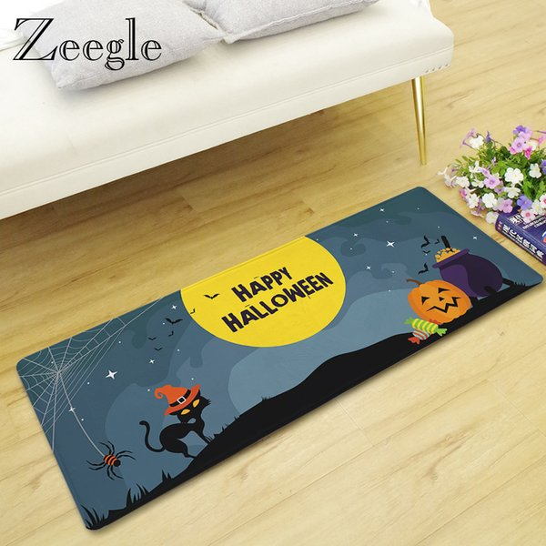 Zeegle Door Mat Long Carpet Halloween Living Room Rug Anti-slip Kitchen Carpet Children Room Floor Mat Absorbent Hallway Rug