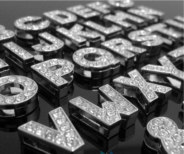 10mm A-Z voller Strasssteine Bling Slide-Buchstaben DIY Zubehör passen für 10mm Armband Schlüsselanhänger