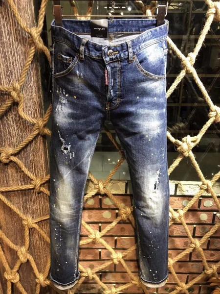 Italia D2019 moda nuevos hombres pantalones de mezclilla de gama alta personalidad de la venta caliente Pies delgados pantalones elásticos ocasionales 617 9322