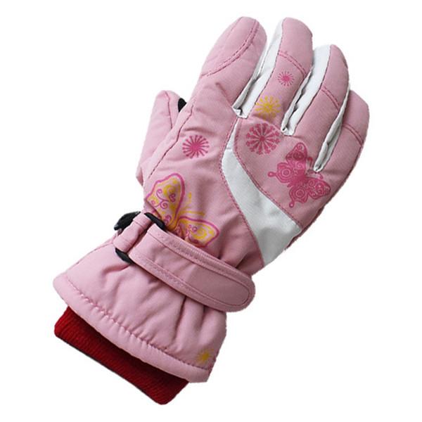 Schmetterling verdicken baumwolle kinder skihandschuhe anti slip professionelle baby mädchen ski snowboarden handschuhe winter wandern