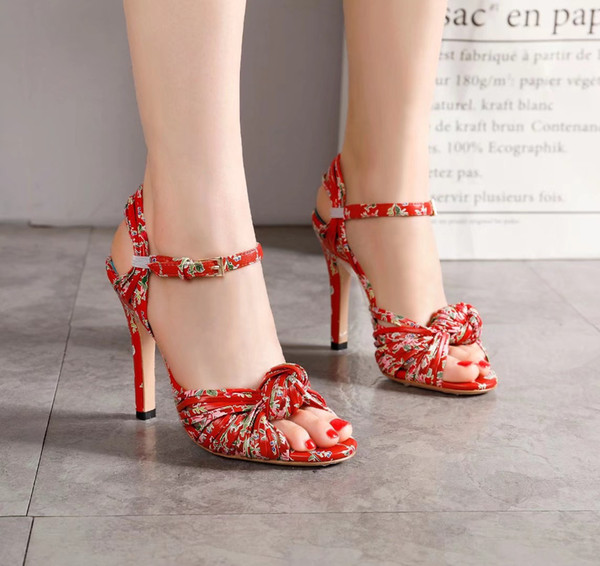 Paris Bohemian sandals Roman tie-up slopes with national style flowers Chinese clothes Ancient style high heeled sandals woman