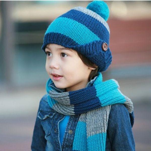 2019 Kids Scarf Set Luxury Knitted Winter Hat Warm Crochet Scarves Outdoor Ski 2 Piece Hat Sets for Girls Boys Child Button stripe