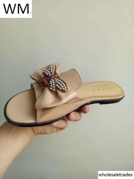 Duping520 Best Selling Ladies Bow sapatas lisas Sandals Casual Handmade ténis passear a pé das sandálias mulas Slides tangas