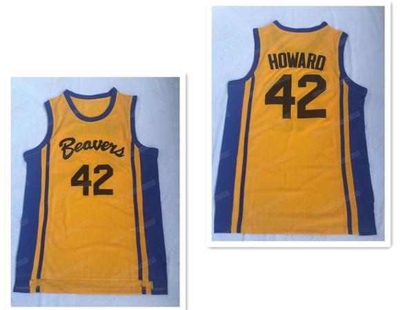 Men's Teen Wolf #42 Scott Howard Moive Beacon Beavers Basketball Jerseys Yellow American Film version state Free shipping Stitched logos