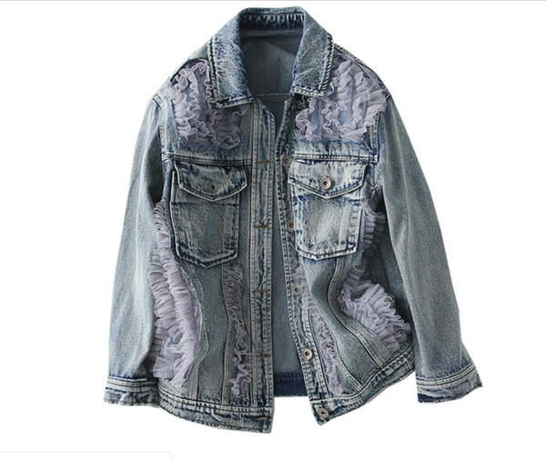 fashion women's clothing ruffle tulle denim jackets coats for women ladies casual wear jacket coat woman outerwear with collar