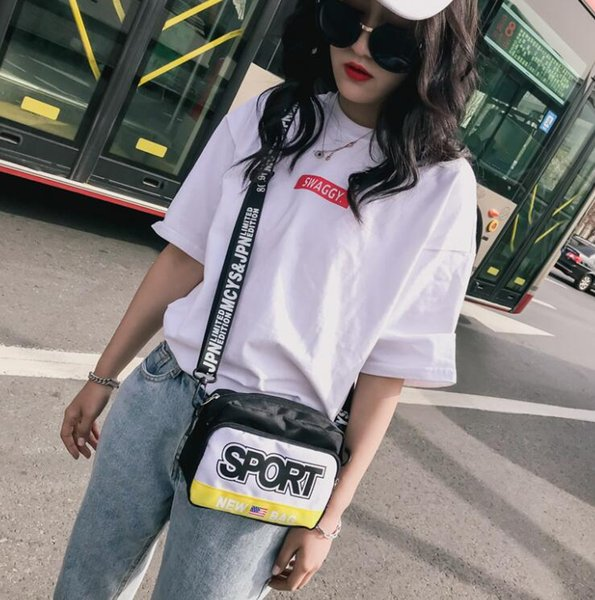 Europe and the United States explosion models canvas bag 2019 new street letter printing shoulder bag chic small bag