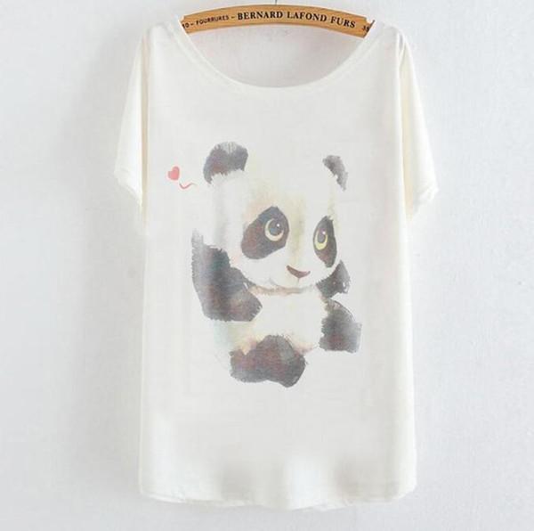 2019 spring and summer new T-shirt Japanese and Korean women's cartoon panda shirts loose bat shirt short-sleeved tops tees wholesale