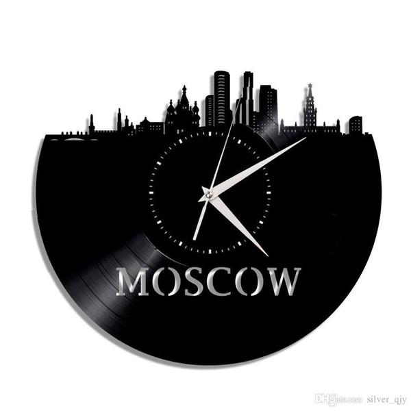 Horloge murale en vinyle de la ville de Moscou, faite de disques de vinyle, d'un décor spécial pour la maison et des meilleurs cadeaux pour votre mère, votre père ou vos amis (Taille: 12inc Couleur: B