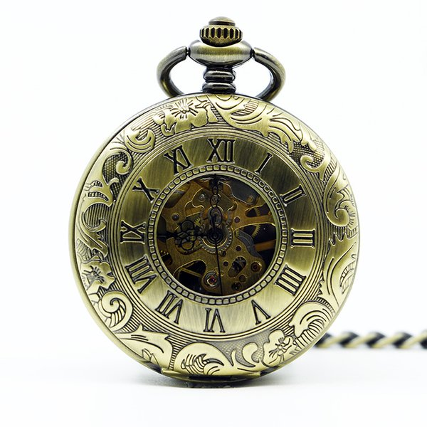 Best Bronze Vintage Silver Double Face Roman Dial Case Man Clock Hand Winding Mechanical Pocket Watch with FOB Chain PJX1252
