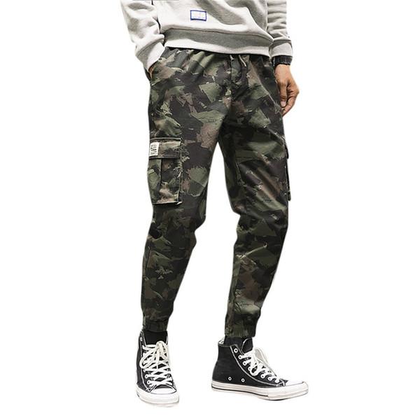 Camouflage Pants Men Streetwear Korean Style Loose Ankle-Length Pants Casual Haren Trousers Mens Fashion 2019 Pantalon Homme