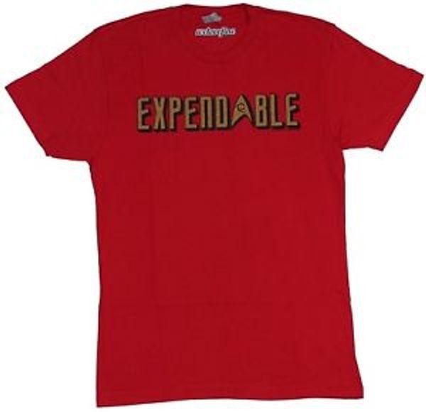 Star Trek Mens T-Shirt - Expendable Red Shirt Gold Logo Image
