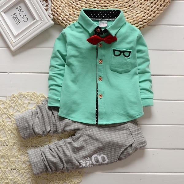 BibiCola Erkek Bebek Giyim Setleri çocuklar papyon T-Shirt gözlük üst pantolon çocuklar pamuk hırka 2 adet erkek sonbahar setleri