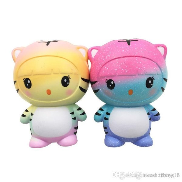 Colorful 12CM Tiger Squishy Toy Kawaii Animal Slow Rising Jumbo Squeeze Phone Charms Stress Reliever Kids Gift T436