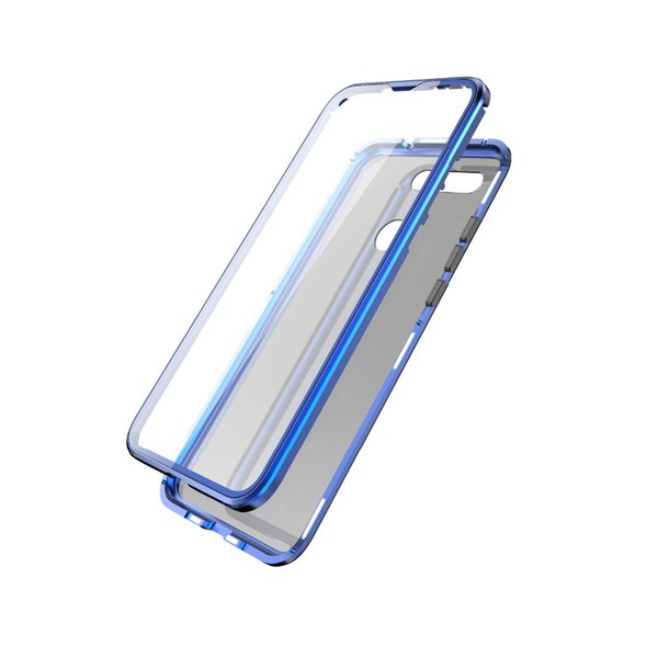 wholesale full protection Magnetic Flip Case For Huawei Honor View 20 Transparent Screen Tempered Glass +Metal Frame Glass Back Cover