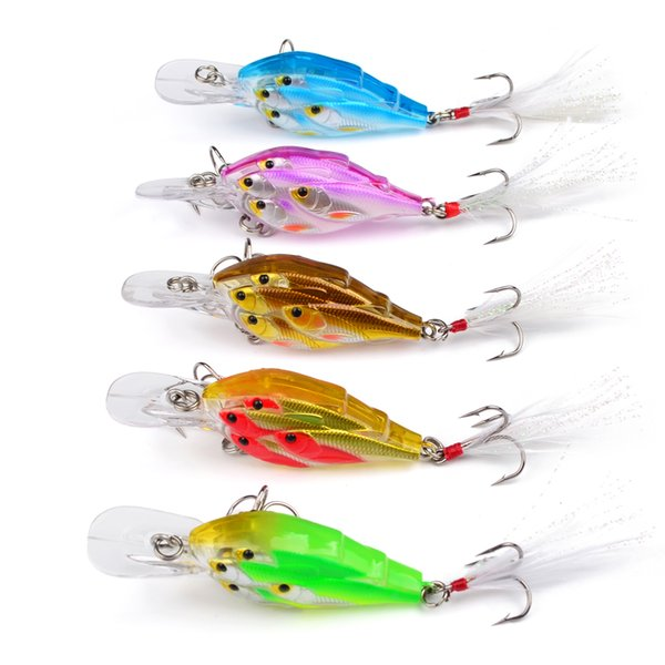 "bait catapult 5pc Painted Fishing Lures 2.76""-7cm/0.22oz-6.22g Crank Bass Baits with Retail PVC Box Package Fishing Tackle"