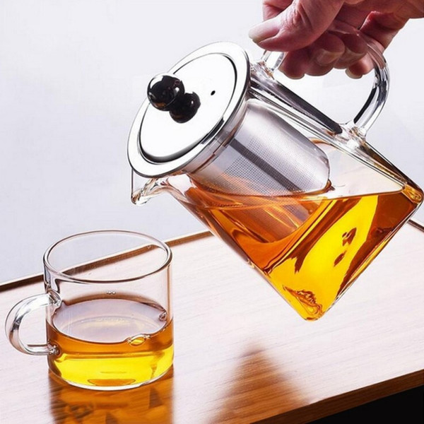 Effacer borosilicate Théière en verre avec infuseur en acier inoxydable Passoire transparent élégant Coupe du verre à thé Théière Théière