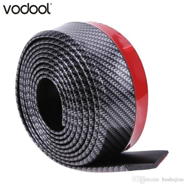VODOOL 2.5m*5cm Carbon Fiber Texture Rubber Car Bumper Strip Automobile Exterior Accessories Front Bumper Lip Decoration Strip