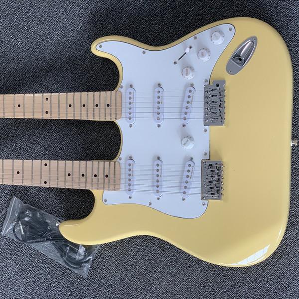 Свободная shippingFactory оптовых светло-желтая двойная шея электрическая гитара, кленовый палец пластина, выполненная на заказ.