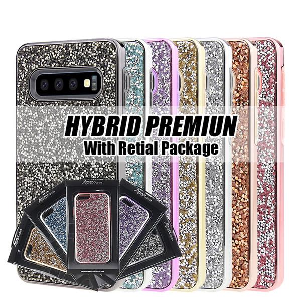 Rhinestone Diamond Bling 2 en 1 funda para iPhone X 7plus Funda para teléfono celular para Samsung galaxy S8 S10e S10 plus con paquete