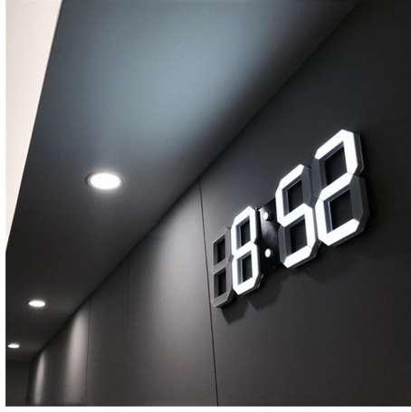3D LED Duvar Saati Modern Dijital Masa Masaüstü Çalar Saat Nightlight Ev Oturma Odası Ofis Için Saat Duvar Saati 24 veya 12 Saat