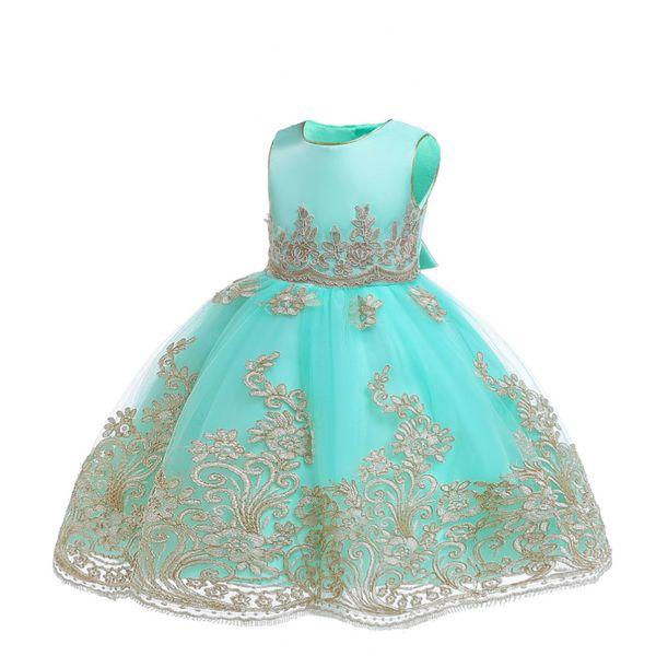 Вышивка Бальные платья для девочек Элегантный малышей платье принцессы Новый год младенца Формальное выпускного вечера школы малышей Свадебное платье