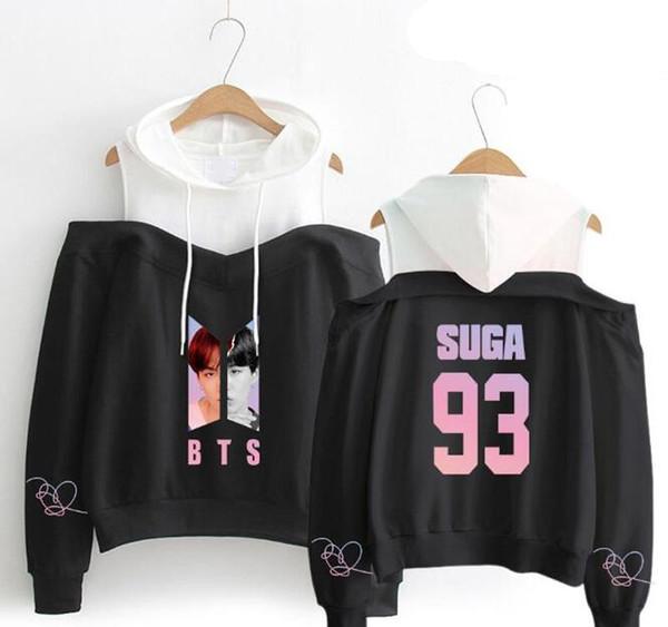 K POP KPOP KPOP BTS Aşk Yourself Hop Kadınlar Kore Streetwear Hip için eşofmanı Kapalı Omuz Kapşonlu Sweatshirt Kadın s Eşofman