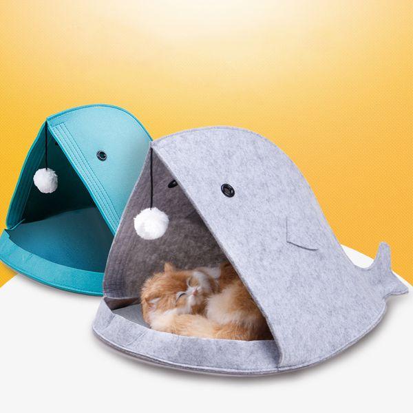 Cute Felt Pet Cat Beds Nest Dog House Basket Rabbit Pet Cave Funny Fish-Type Nest Portable Foldable Pupply House