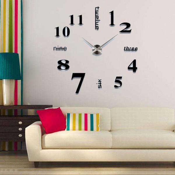 2019 modern design rushed Quartz clocks fashion watches Acrylic mirror sticker DIY living room decor 3D big wall clock