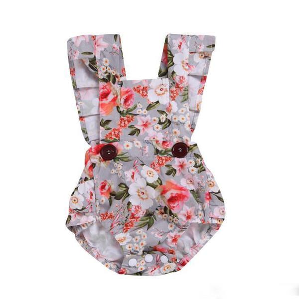 Roupas de bebê recém-nascido menina Verão crianças roupas de grife meninas Floral macacão sem mangas Criança sem encosto Romper Algodão