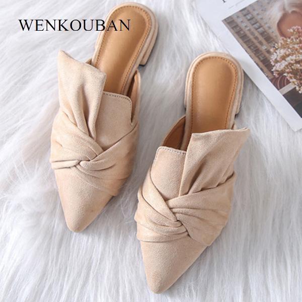 Летние сандалии для женщин с острым носом на плоской подошве Повседневные замшевые босоножки на скользкой подошве Тапочки женские Sandalias Zapatos Mujer 2019