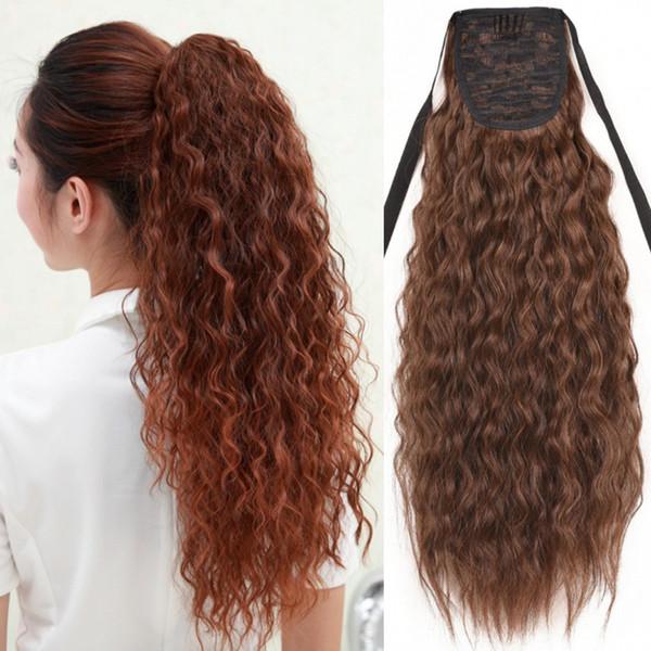 Sara Women Kinky Curly Human Ponytail Hair Extension Cordón Pony Tail 100% Real Pedazo de cabello humano Brasileño natural 55cm, 22 pulgadas