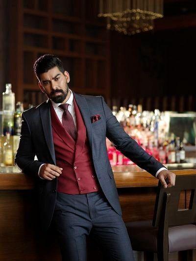 Burgundy Waistcoat Dark Grey 3 Piece Men Wedding Suits Custom Made Groom Terno Masculino Best Man Tuxedos Prom Wear For Man