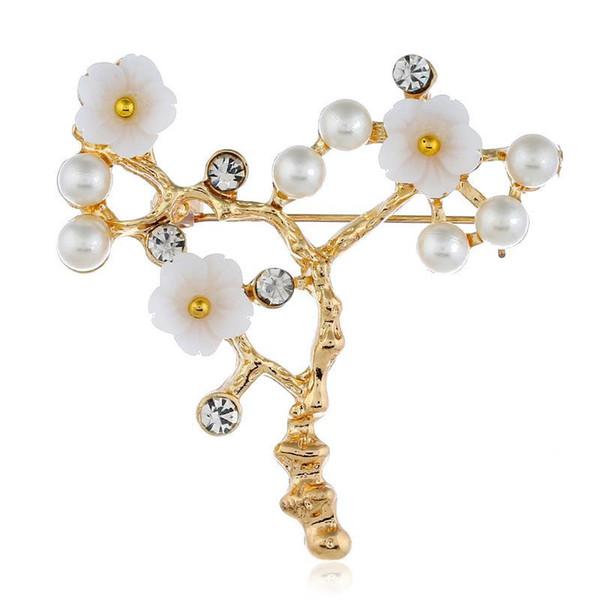 Moda amor designer de casamento acessórios de noiva encantos Design Shell Pérola Flor de Ouro Broche de Cachecol De Seda Xaile conjuntos de Jóias para mulheres dos homens
