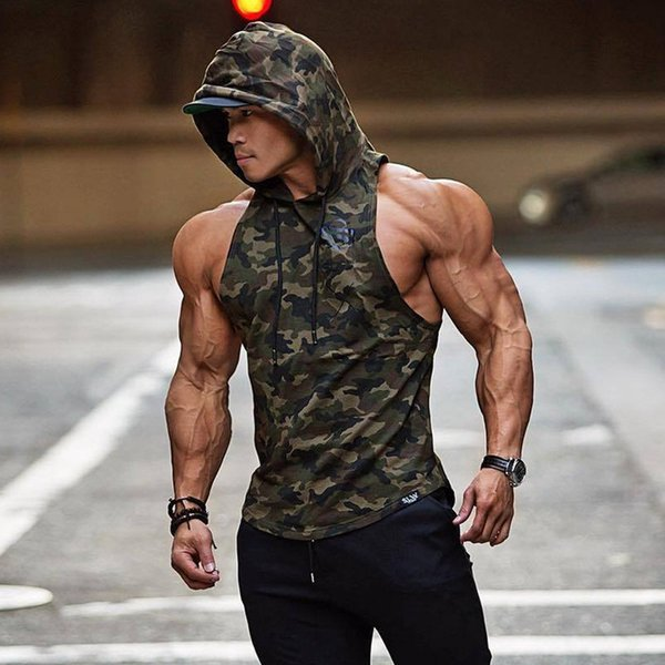 New Men Bodybuilding Tank Tops Gyms Fitness Workout Sleeveless Hoodies Man Casual Camouflage Hooded Vest Male Camo Clothing Q190521