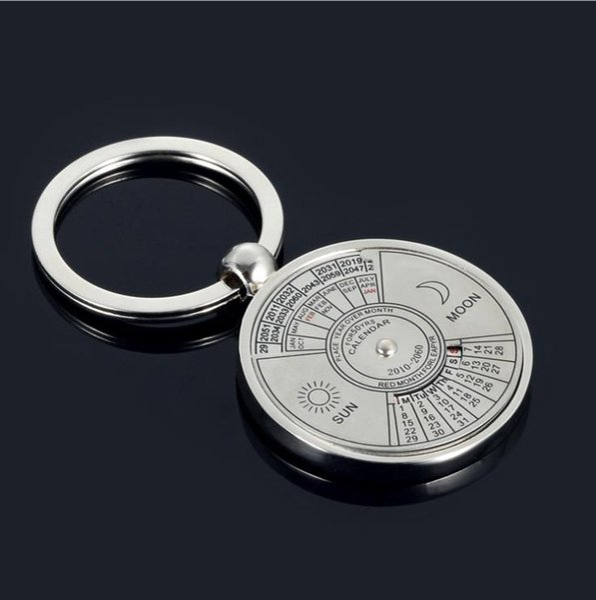 Mini Perpetual Calendar Keychain Clock Ring Einzigartiger Metall Schlüsselanhänger Kalender Metall Schlüsselanhänger Datum und Woche Uhr