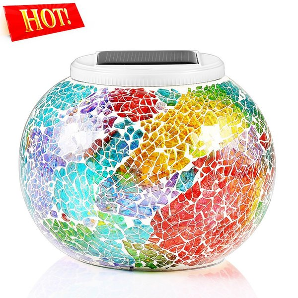 DHL Color Changing Solar Powered Glass Ball Led Garden Lights Rechargeable SolarWaterproof Solar Night Lights Table Lamp
