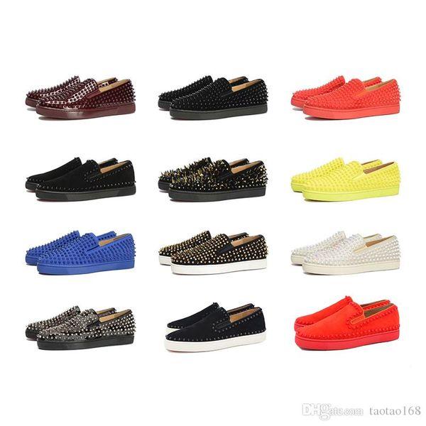 Son Tasarımcı Kırmızı Alt Casual Ayakkabı Spor Ayakkabılar Womens alçak Dikenler Flats Loafers Pik Tekne Gerçek Deri Tasarım Düz Ayakkabı 35-46
