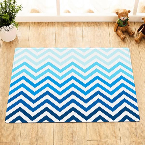 Gradient Stripe Pattern Bathroom mat right angle non-slip door pad children 40X60CM