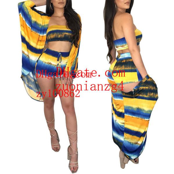 2019 Stripe Leisure Time Suit Color Wrapping Set da tre pezzi Abbigliamento donna estate
