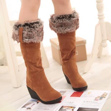 YIBING1517 2019 Yeni Sıcak Kadın Çizmeler Sonbahar Akın Kış Bayanlar Moda Kar Botları Ayakkabı Uyluk Yüksek Süet Orta Buzağı botas mujer