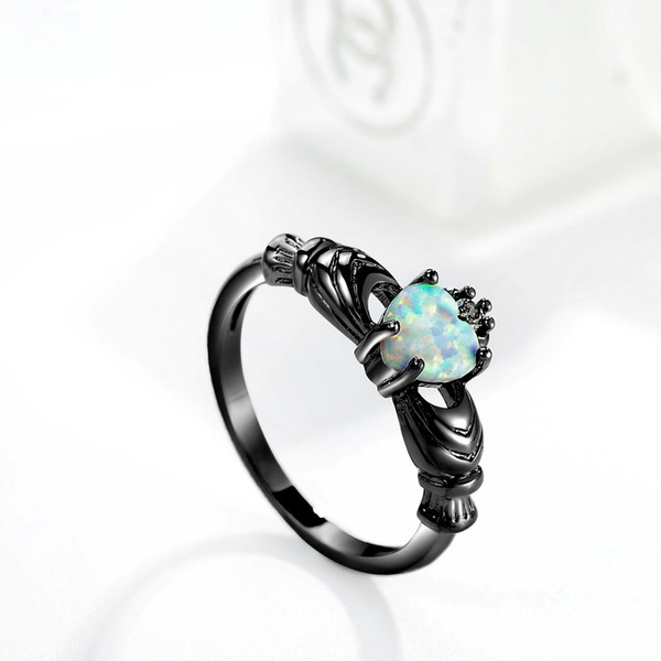 2019 High Charming Heart Shape Fire Opal Rings For Women Wedding Band Vintage Black Filled White Ring