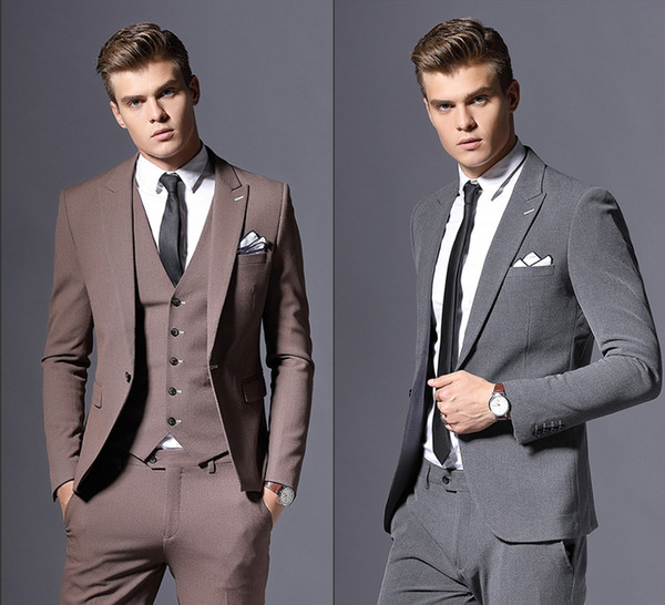 High Quality Tailor Made Business Suits For Men Grey Formal Dress Men Wedding Suit Groom Tuxedos 3 Pieces Costume Homme(Jackets+Pants+Vest)