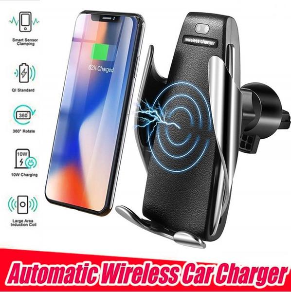S5 Carregador de Carro Sem Fio Automático de Fixação Para iphone Android Ventilação Do Telefone Suporte de Telefone 360 Graus de Rotação 10 W Carregamento Rápido com caixa